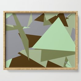 Crzy Modern Triangles - Shady Lady, Dallas, Pale Leaf Serving Tray
