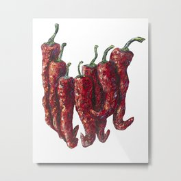 Hot Chili pepper Palette Knife Painting by OLena Art Metal Print