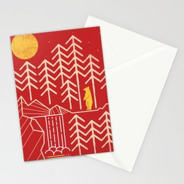 Sunlands - Bear T-Shirt, Bear, Nature, Geometric, Waterfall, Hiking gift, Walking, outdoors Stationery Cards