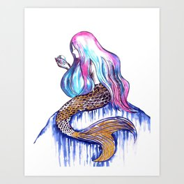 Mermaid in Gold Art Print