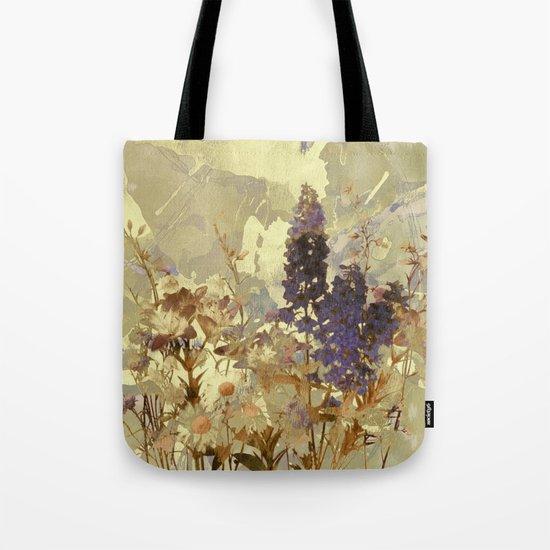 floral on beige Tote Bag