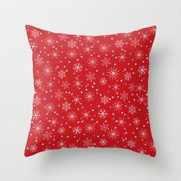 Red & White Snowflakes Pattern Throw Pillow