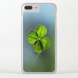 Lucky Four Leaf Clover Clear iPhone Case