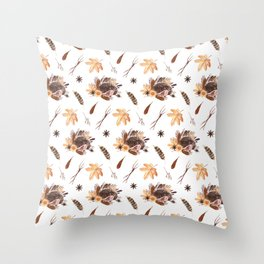 Cute brown pink orange yellow watercolor hedgehogs fall leaves Throw Pillow