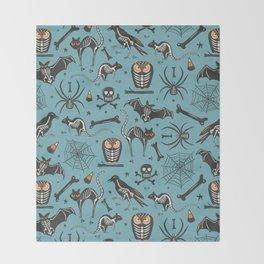 Halloween X-Ray Blue Throw Blanket