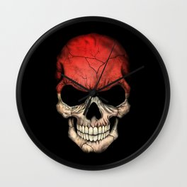 Dark Skull with Flag of Indonesia Wall Clock