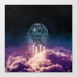 Out of the atmosphere / 3D render of spaceship rising above clouds Canvas Print