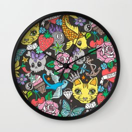 Tattoo Cats,Roses,Strawberry,Skulls Wall Clock