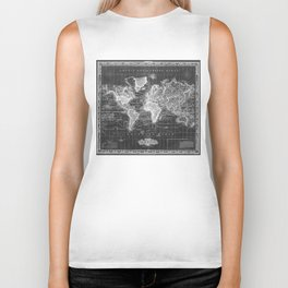 Vintage Map of The World (1833) Black & White  Biker Tank