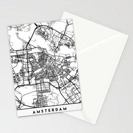 AMSTERDAM NETHERLANDS BLACK CITY STREET MAP ART Stationery Cards