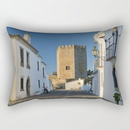 Monsaraz cobbled street and castle, Portugal Rectangular Pillow