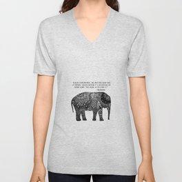 Buddha Quote with Henna Elephant Unisex V-Neck