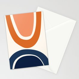 Abstract Shapes 7 in Burnt Orange and Navy Blue Stationery Cards
