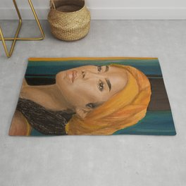 Jhen,singer,soul,portrait,original,oil painting,chilombo,small,poster,print,art,artwork,woman,decor Rug