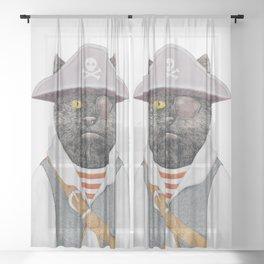 Pirate Cat Sheer Curtain