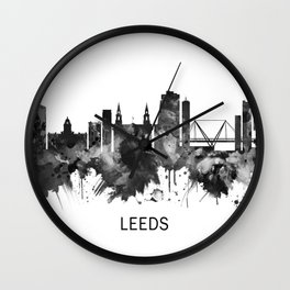 Leeds England Skyline BW Wall Clock