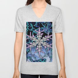 GRAPHIC WINTER SNOWFLAKE PEN & INK DRAWING Unisex V-Neck