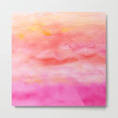 Bright pink orange sunset watercolor hand painted Metal Print