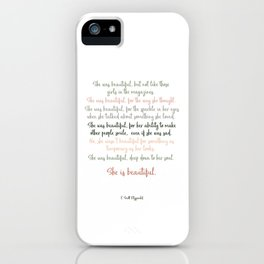 She Was Beautiful By F. Scott Fitzgerald 3 #minimalism #poem iPhone Case