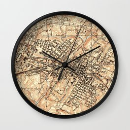 Vintage Map of Charlottesville Virginia (1960) Wall Clock