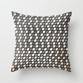 Irregular Chequers - Black Steel and Stelel - Industrial Chess Board Pattern Throw Pillow