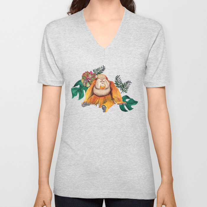 Forest Of Orangutans Unisex V-Neck