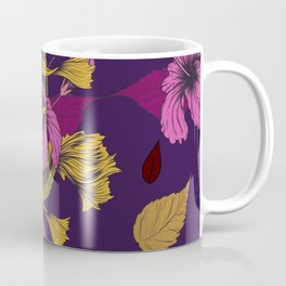 Vibrant Goldfish And Hibiscus Flower Pattern Coffee Mug