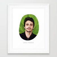 james franco Framed Art Prints featuring James Franco by WeedPornDaily