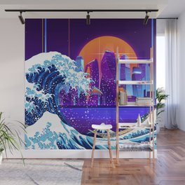 Synthwave Space: The Great Wave off Kanagawa #5 Wall Mural