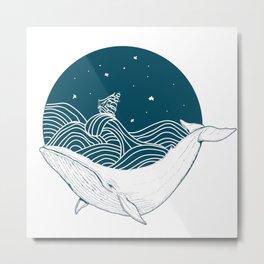 Minimalist Sperm Whale Art - Geometric Ocean Artwork - Boat Metal Print