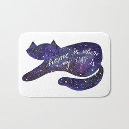 Watercolor Galaxy Cat - purple Bath Mat