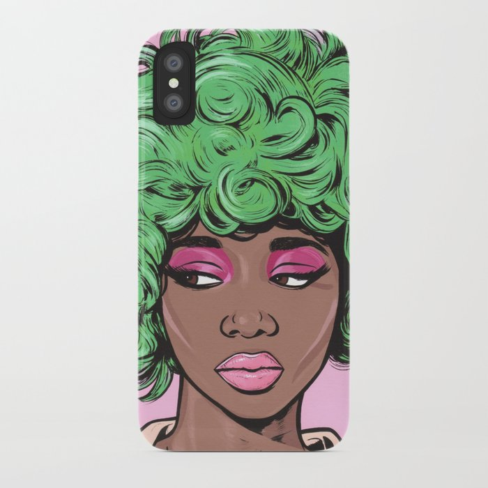 Green Kawaii Black Comic Girl iPhone Case