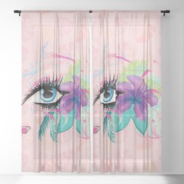 Blue eye with long eyelashes, flowers, musical notes and butterflies Sheer Curtain