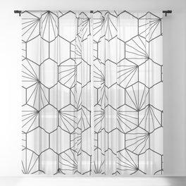 Peacock comb black white geometric pattern Sheer Curtain