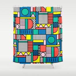 Memphis Color Block Shower Curtain