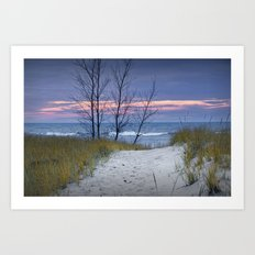 Sunset Photograph of Trees and Dune with Beach Grass at Holland Michigan No. 0241 Art Print