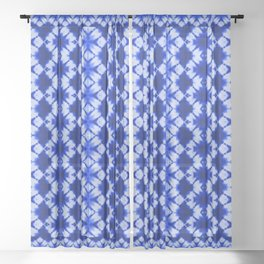 indigo shibori print Sheer Curtain