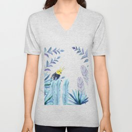 Cockatiel with tropical foliage Unisex V-Neck