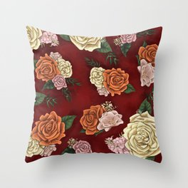 Red luxury flowers Throw Pillow