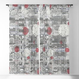 The Importance of Measuring Feet / The Needs of the Business (P/D3 Glitch Collage Studies) Sheer Curtain