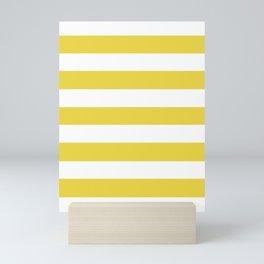 Sandstorm - solid color - white stripes pattern Mini Art Print