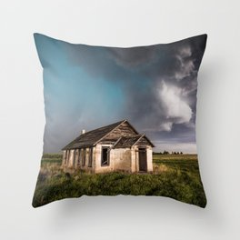Pioneer - Abandoned Settlement Under Storm On Colorado Plains Throw Pillow