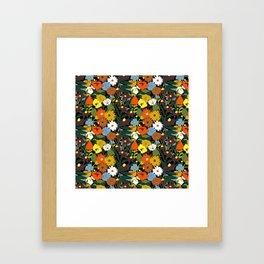 60's Swamp Floral in Midnight Black Framed Art Print