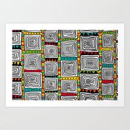 Tribal Squares black Art Print
