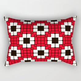 Retro Mosaic Red & Black Rectangular Pillow