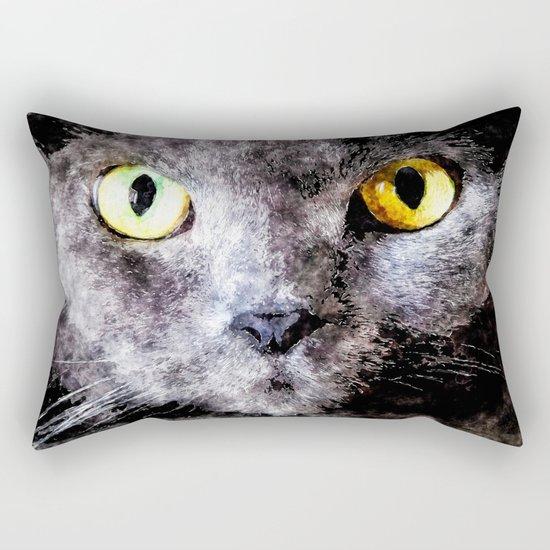 Black cat - Animal Watercolor Illustration Rectangular Pillow
