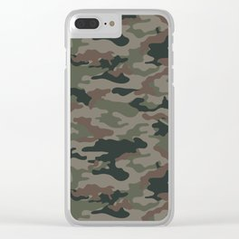 Woodland Day 2 Camouflage Seamless Pattern Clear iPhone Case