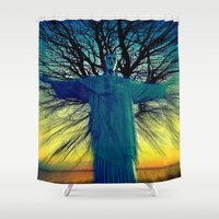 jesus Shower Curtains featuring jesus by  Agostino Lo Coco
