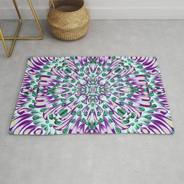 Purple and Green Electric Mandala Flower - Radial Symmetry Floral Rosetta Pattern - Abstract Geometric Mid-Century Decoration Rug
