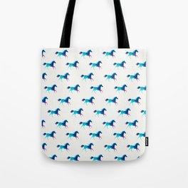 blue horse pattern Tote Bag